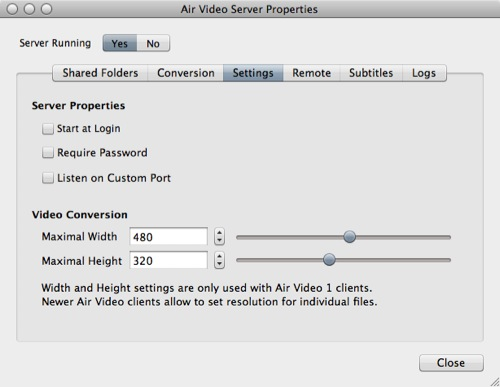 Air Video Server Properties - Server Settings