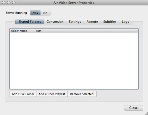 Air Video Server Properties - Videoverzeichnis