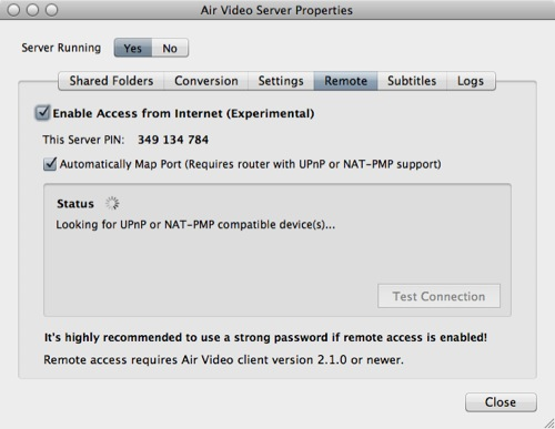 Air Video Server Settings - Remotezugriff